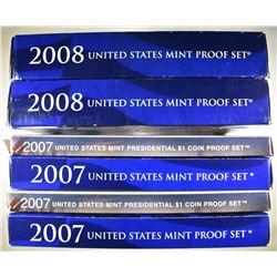2-2007 & 2-08 U.S. PROOF SETS ORIG PACKAGING
