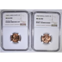 1960 SD & LD LINCOLN CENTS, NGC MS-66 RE