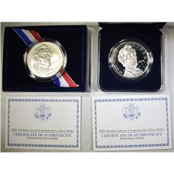 2009 ABE LINCOLN PROOF & UNC COMMEM SILVER DOLLARS