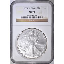 2007-W AMERICAN SILVER EAGLE, NGC MS-70