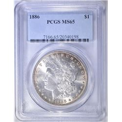 1886 MORGAN DOLLAR   PCGS  MS-65
