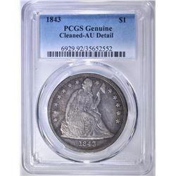 1843 SEATED DOLLAR  PCGS GENUINE AU DETAIL