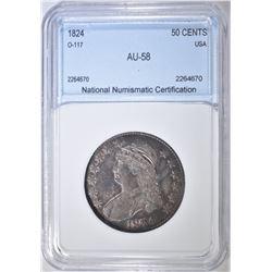 1824 BUST HALF DOLLAR  NNC AU BU