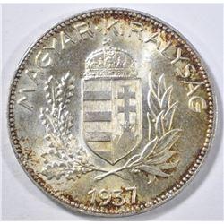 1937 BP SILVER 1 PENGO HUNGARY GEM BU
