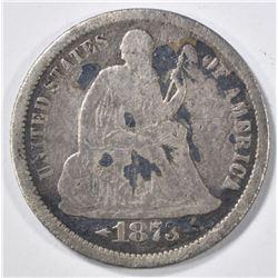 1873-CC SEATED LIBERTY DIME  VG