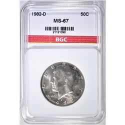 1982-D KENNEDY HALF DOLLAR BGC SUPERB GEM BU
