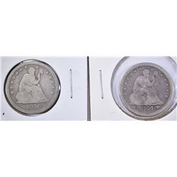 1854 ARROWS & 56 SEATED QUARTERS G/VG