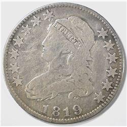1819 BUST QUARTER, VG