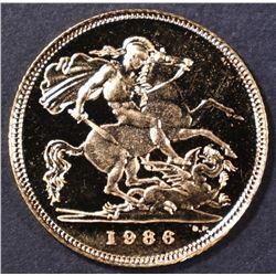 1986 BRITISH GOLD HALF SOVEREIGN