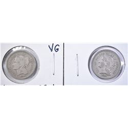 1868 VF & 1873 open-3 VG 3-CENT NICKELS