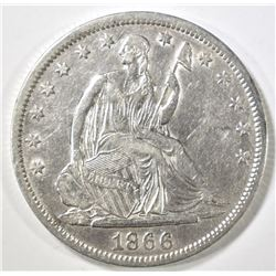 1866-S SEATED HALF DOLLAR XF