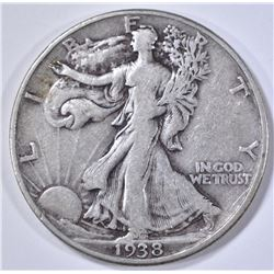 1938-D WALKING LIBERTY HALF DOLLAR, VF