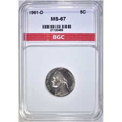1961-D JEFFERSON NICKEL, BGC SUPERB GEM BU