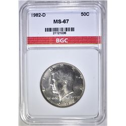 1982-D KENNEDY HALF DOLLAR, BGC SUPERB GEM BU