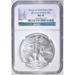 2011 (W) AMERICAN SILVER EAGLE, NGC MS-70