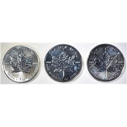 1-2001 & 2-2002 1oz SILVER CANADA MAPLE LEAF COINS