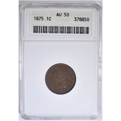 1875 INDIAN CENT ANACS AU-50