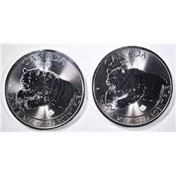 2-2019 CANADA 1oz SILVER ROARING GRIZZLY COINS
