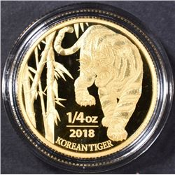 2018 .25 oz KOREA GOLD TIGER