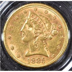 1885 $5 GOLD LIBERTY BU