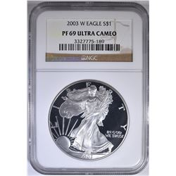 2003-W AMERICAN SILVER EAGLE NGC PF-69 ULTRA CAMEO