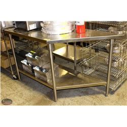 ANGLED STAINLESS STEEL PREP TABLE W/ UNDER SHELF