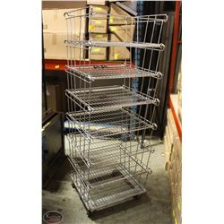 STACKING 6 TIER CHROME WIRE BASKET DISPLAY ON