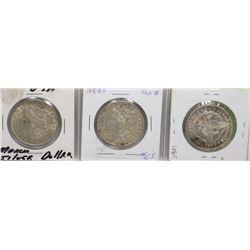 3 SILVER USA MORGAN DOLLARS, 1921, 1885