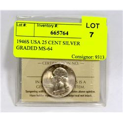 1946S USA 25 CENT SILVER COIN GRADED MS-64