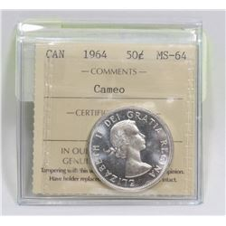 1964 CANADIAN 50 CENT SILVER COIN GRADED MS-64