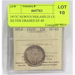 1919C NEWFOUNDLAND 25 CENT SILVER GRADED EF-40