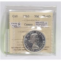 1963 CANADIAN 50 CENT SILVER COIN  GRADED PL-65