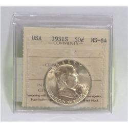 1951S USA 50 CENT SILVER COIN GRADED MS-64