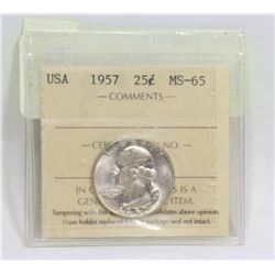 1957 USA 25 CENT SILVER COIN GRADED MS-65