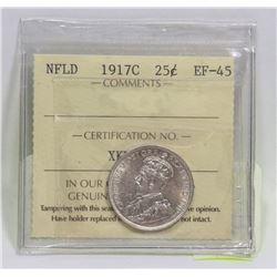 1917C NEWFOUNDLAND 25 CENT SILVER GRADED EF-45
