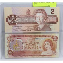 LOT OF 2 CANADIAN $2 BILLS 1974, 1986