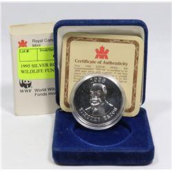 1995 SILVER RCM $50 WORLD WILDLIFE FUND COIN
