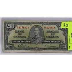 1937 CANADIAN 20 DOLLAR BILL.