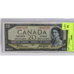 1954 CANADIAN DEVILS FACE 20 DOLLAR BILL.