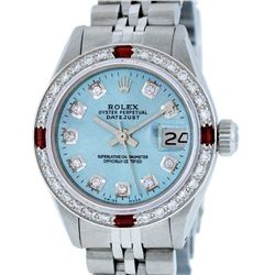 Rolex Ladies Stainless Steel Sky Blue Diamond & Ruby Datejust Wristwatch