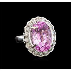 14KT White Gold 18.05 ctw Kunzite and Diamond Ring