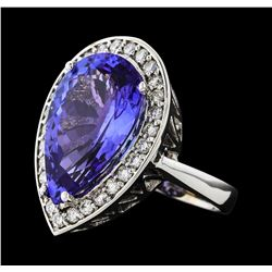 GIA Cert 11.93 ctw Tanzanite and Diamond Ring - 14KT White Gold