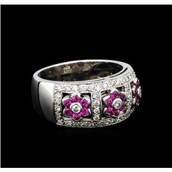0.50 ctw Pink Sapphire and Diamond Ring - 18KT White Gold