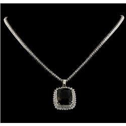 22.17 ctw Tourmaline and Diamond Pendant With Chain - 14KT White Gold