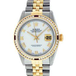 Rolex Mens 2 Tone 14K MOP Roman & Ruby Channel Set Diamond Datejust Wristwatch