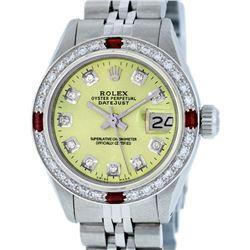 Rolex Ladies Stainless Steel Yellow Diamond & Ruby Datejust Wristwatch