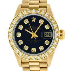 Rolex Ladies 18K Yellow Black Diamond President Wristwatch With Rolex Box & Appr
