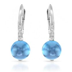 14k White Gold  3.98CTW Blue Topaz and Diamond Earrings
