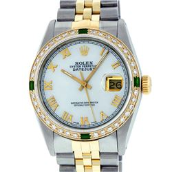 Rolex Mens 2 Tone 14K Mother Of Pearl Diamond & Emerald 36MM Datejust Wristwatch