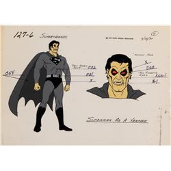 Super Friends (4) model cels featuring 'Superman', 'Wonder Woman' and the 'Wonder Twins'.